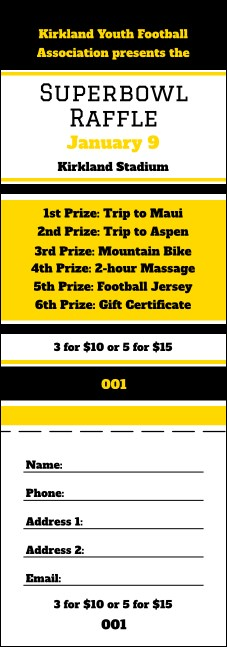 Sports Raffle Ticket 001 in Black and Yellow