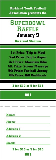 Sports Raffle Ticket 004 in Green and Black Product Front