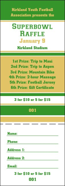 Sports Raffle Ticket 005 in Green and Gold