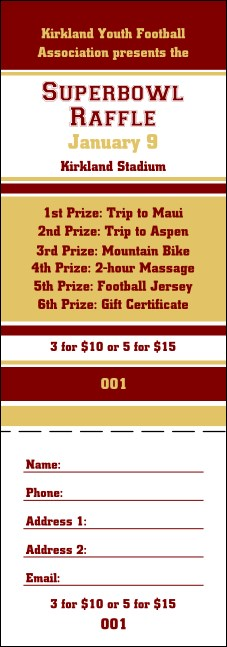 Sports Raffle Ticket 006 in Maroon and Gold