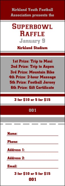 Sports Raffle Ticket 007 in Maroon and Silver