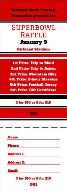 Sports Raffle Ticket 008 in Red and Black