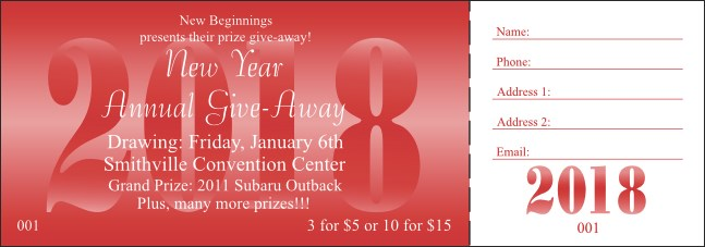 Year Raffle Ticket Red 004 Product Front