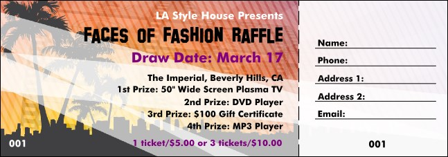 Hollywood Raffle Ticket with stub Product Front