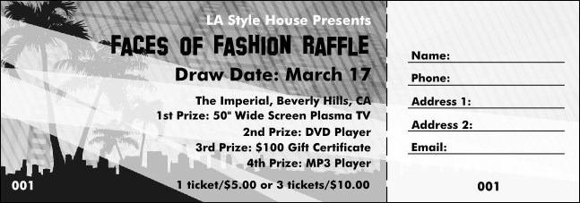 Hollywood Raffle Ticket with stub (Black and white)