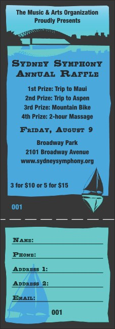 Sydney Raffle Ticket (Blue)