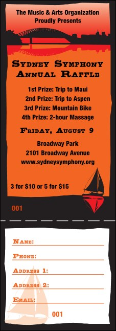 Sydney Raffle Ticket (Orange)
