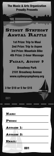 Sydney Raffle Ticket (Black and white)