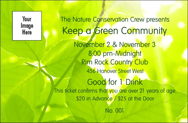 Green Leaves Drink Ticket Product Front