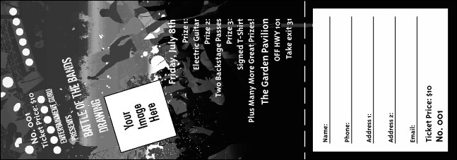 rock concert bw raffle ticket