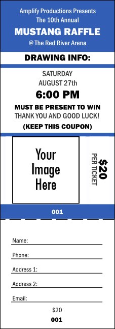 Your Image Raffle Ticket 001 (Blue)