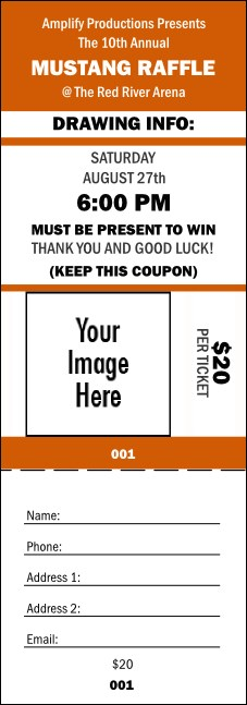 Your Image Raffle Ticket 001 (Orange)