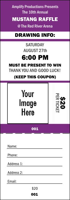 Your Image Raffle Ticket 001 (Purple)