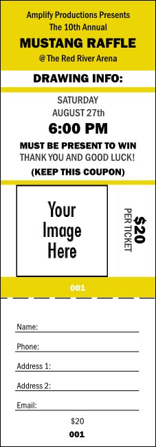 Your Image Raffle Ticket 001 (Yellow)