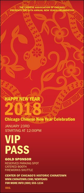 Chinese New Year Flower Snake VIP Pass