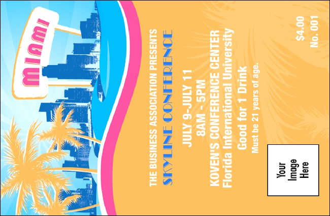 Miami Drink ticket Product Front