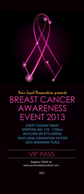 Breast Cancer Ribbon Sparkle VIP Pass Product Front