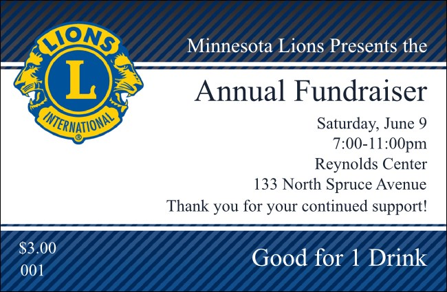 Lions Club drink ticket
