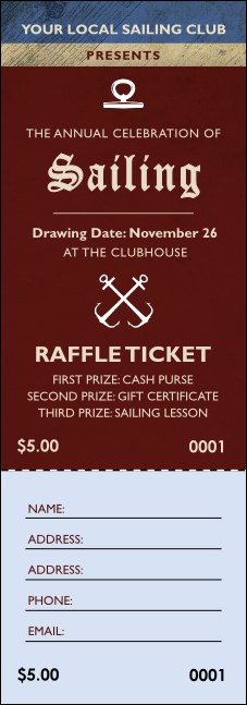 Sailing Raffle Ticket