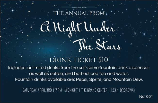 Star Theme Drink Ticket