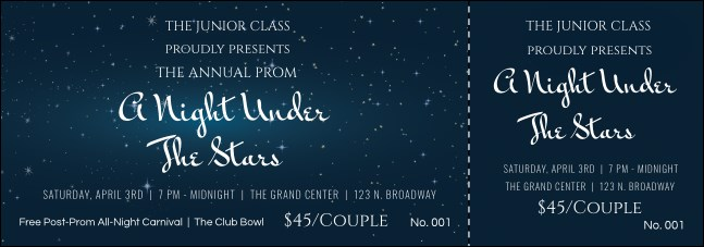 Star Theme Event Ticket  Prom Ticket Template
