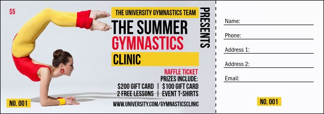 Retro Gymnastics Raffle Ticket