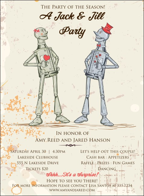 Robot Jack & Jill Invitation