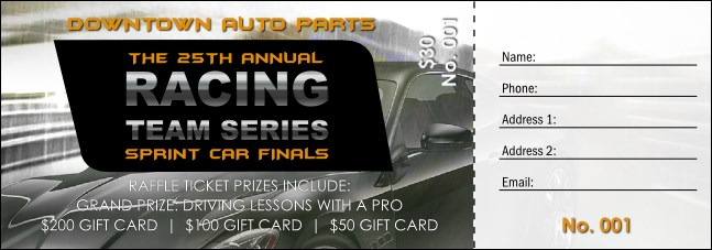Auto Racing Raffle Ticket Product Front