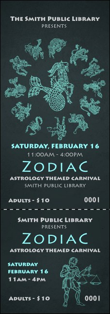 Zodiac Event Ticket Product Front