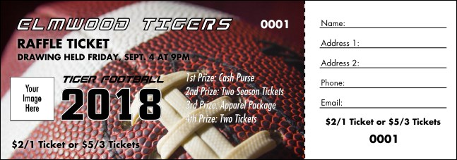 Football Schedule Raffle Ticket