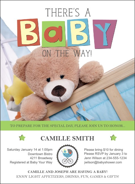 Baby Shower Teddy Invitation