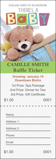 Baby Shower Teddy Raffle Ticket