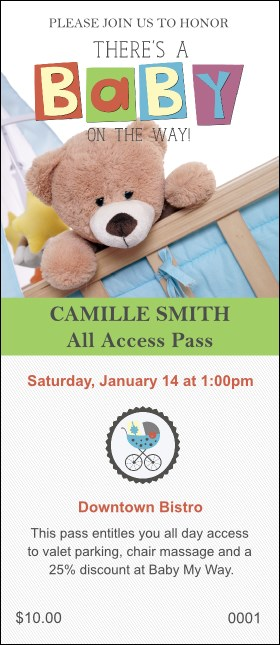 Baby Shower Teddy VIP Pass