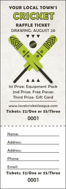 Cricket Raffle Ticket Product Front