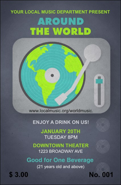 World Music Drink Ticket Product Front