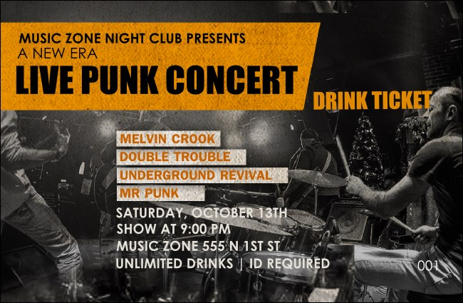 Punk Rock Drink Ticket Product Front