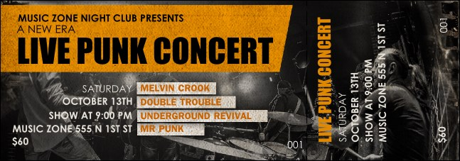 Punk Rock Event Ticket Product Front