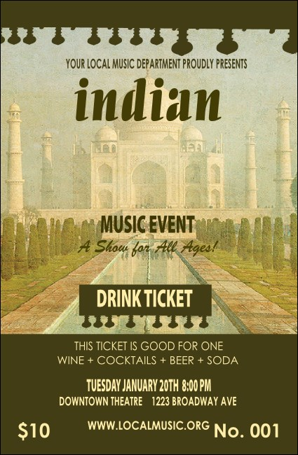 Indian Music Drink Ticket