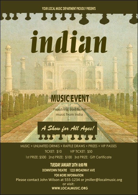 Indian Music Postcard Product Front