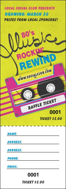 80s Music Raffle Ticket