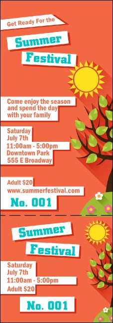 Summer Cut Paper Event Ticket Product Front