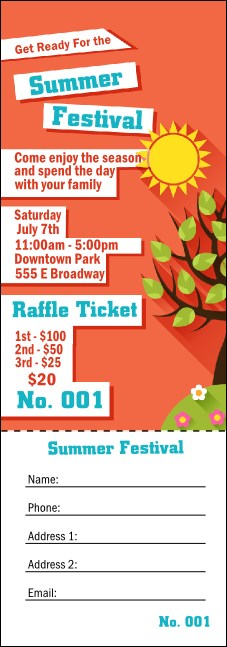 Summer Cut Paper Raffle Ticket