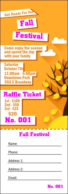 Fall Cut Paper Raffle Ticket
