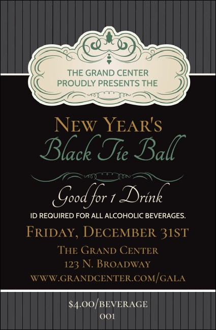 Classic Black Pinstripe Drink Ticket