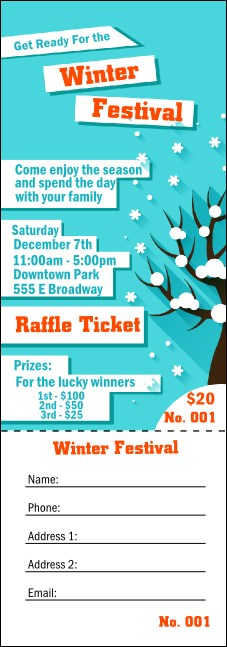 Winter Cut Paper Raffle Ticket