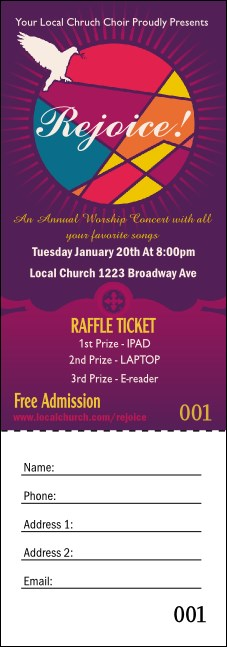 Spiritual Music Raffle Ticket