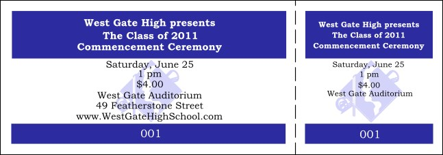 Graduation General Admission Blue Event Ticket