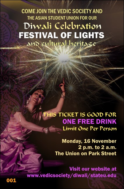 Diwali Drink Ticket Product Front