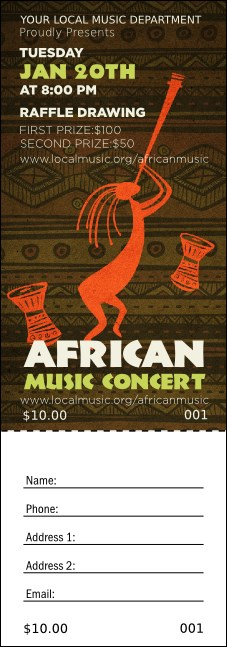 African Music Raffle Ticket