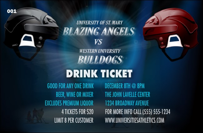 Hockey Faceoff Drink Ticket Product Front